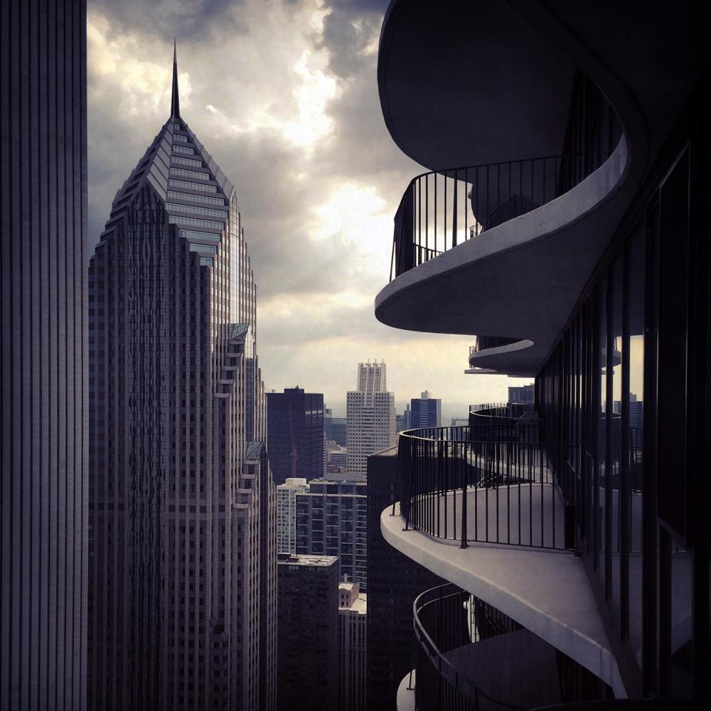 From the 61st floor of the Aqua Tower in...