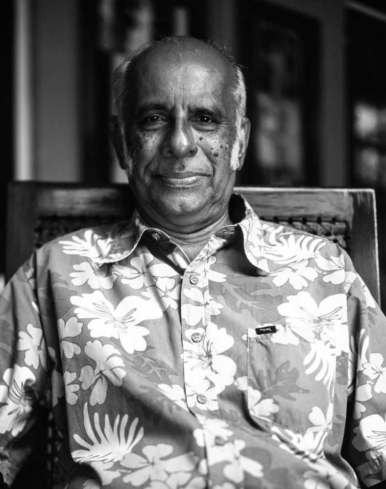 Arjuna Hulugalle.   Director of International Relations at The Mahatma Gandhi Institute and writer. Photograph taken at the sitters home in Colombo.