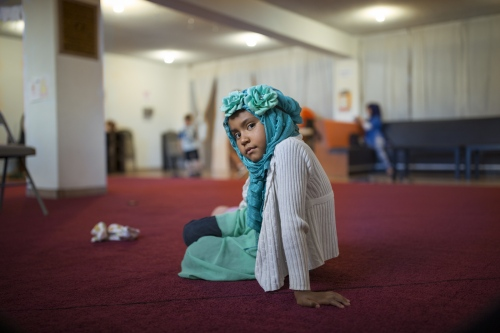 Barbara Gomez Gallo, 8, at the women's section of the mosque in Playas de Tijuana, Mexico.