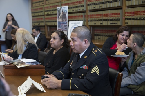 Army veteran Ricardo Pineda with his wife and son and other military families and supporters, attend a meeting with members of the Congressional Hispanic Caucus at the Rayburn House Office Building in Washington D.C. on February 7, 2017. The purpose of the meeting was to discuss a bill that would stop the deportation of veterans, military families and Gold Star families.
