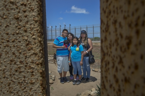 Rebecca Chavez with her children Jessi, 15 and Crystal, 11, and sister Suriana visit with Chavez's mother in law for the first time. Rebecca married her husband Chris 16 years ago when he crossed over to the United States.