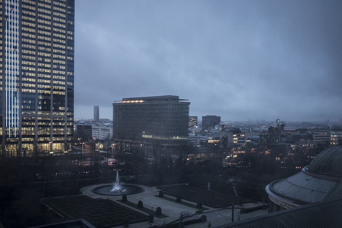 Early morning in Brussels, Belgium on January...
