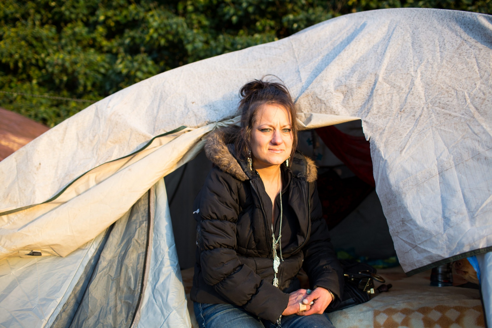 Tracy Bauer, 49,near what was formerly 'the Jungle,' a large, unsanctioned camp in Seattle which was cleared last year. 'Homeless at Christmas' for the Guardian