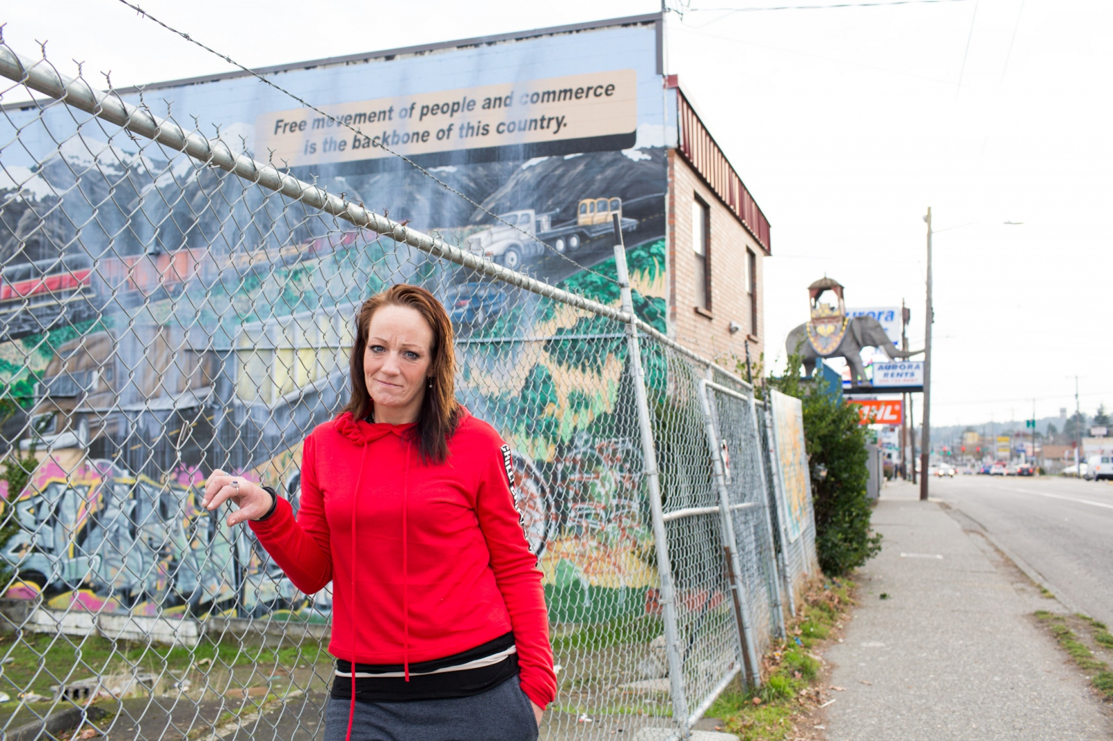 Robin Curtis, 41, on Aurora Avenue in Seattle. 'Homeless at Christmas' for the Guardian