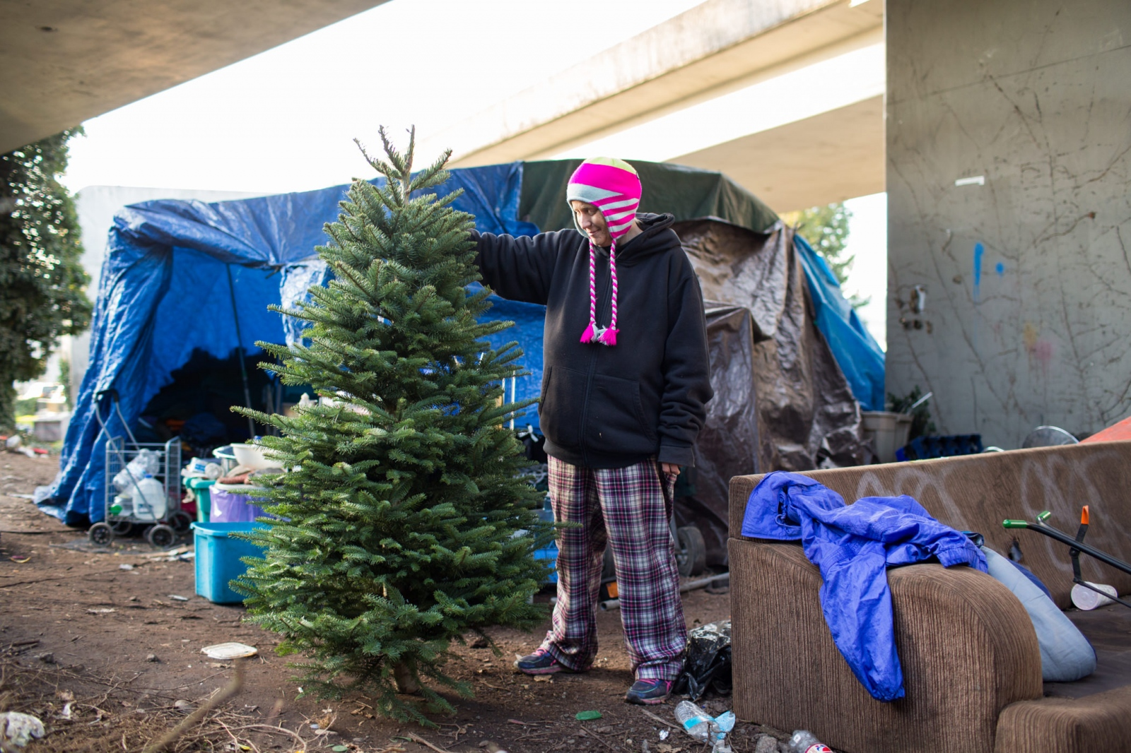 Brandie Osborne, 44, near what was formerly 'the Jungle,' a large, unsanctioned camp in Seattle which was cleared last year. 'Homeless at Christmas' for the Guardian