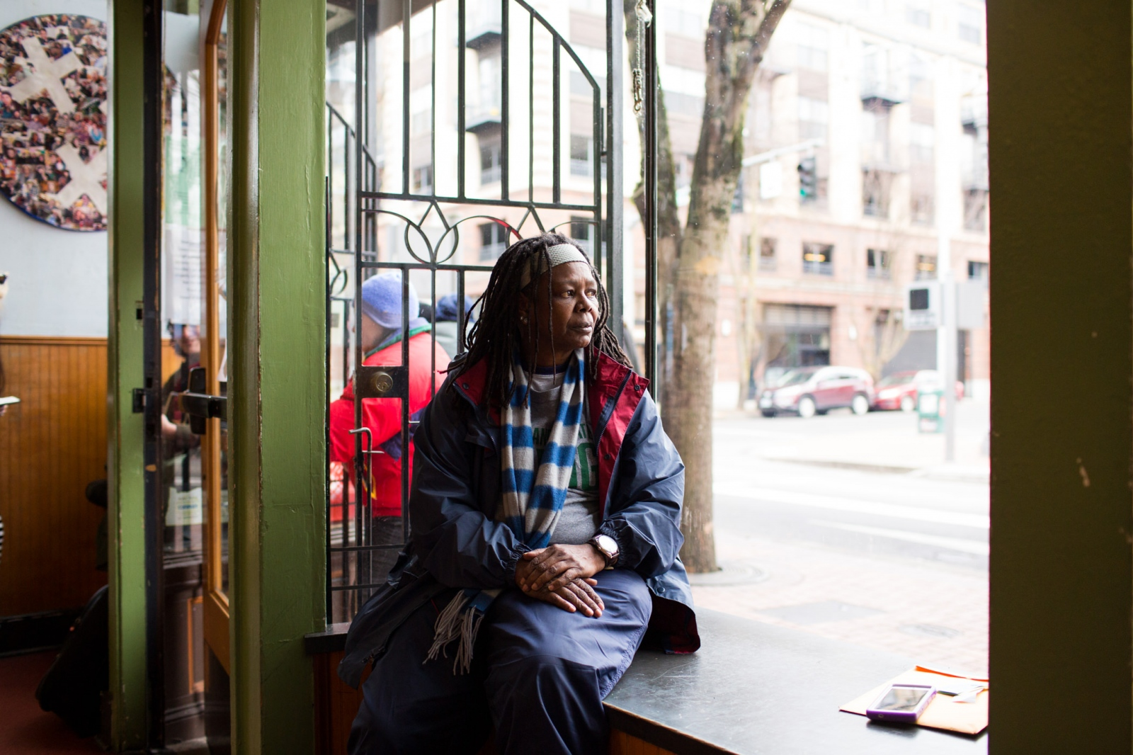 Janice Mack, 62, at the non-profit cafe Sisters of the Road in Portland.  'Homeless at Christmas' for the Guardian