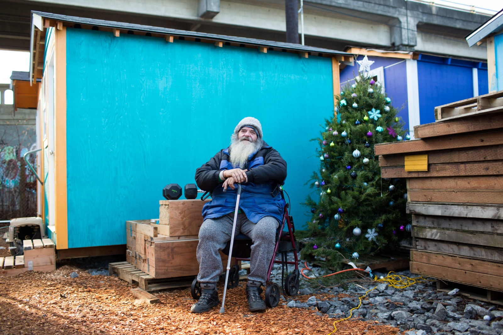 Joseph 'Panda' Procella, 55, at Tent City 5 tiny houses in Seattle.  'Homeless at Christmas' for the Guardian