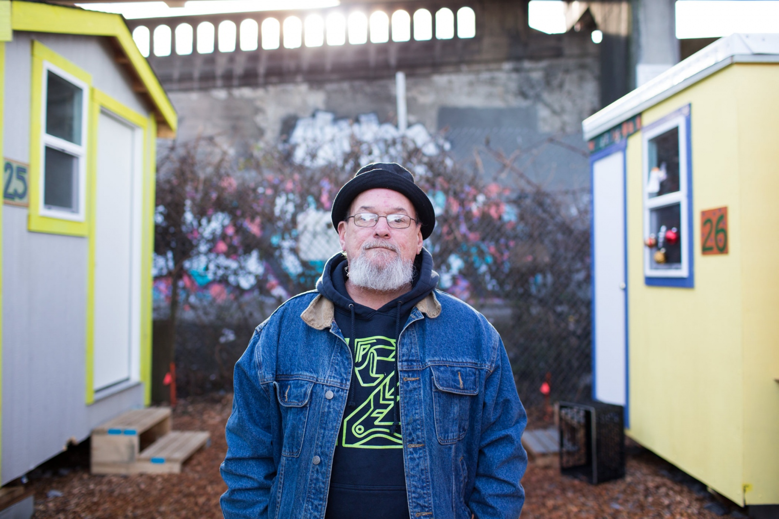 Tim C. atTent City 5 tiny houses in Seattle. 'Homeless at Christmas' for the Guardian