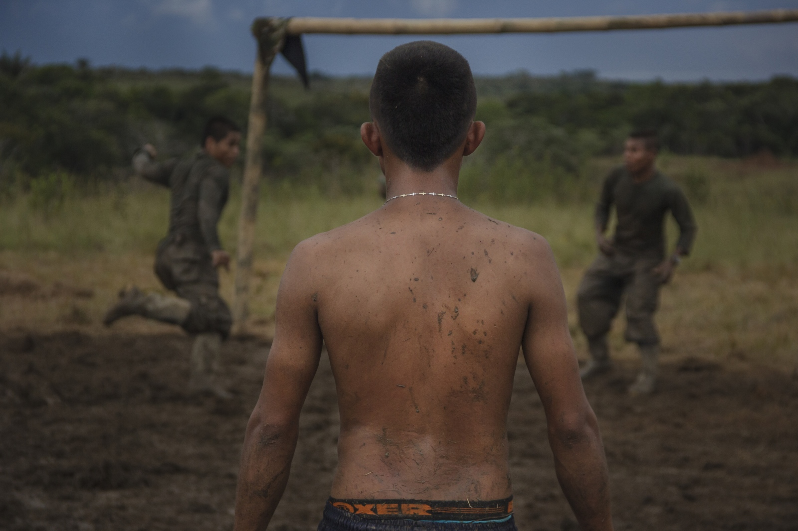 FARC EP guerrillas taking some free time to play a football game, few moments like this they can take advantage to get away, at least for a few minutes of the war.