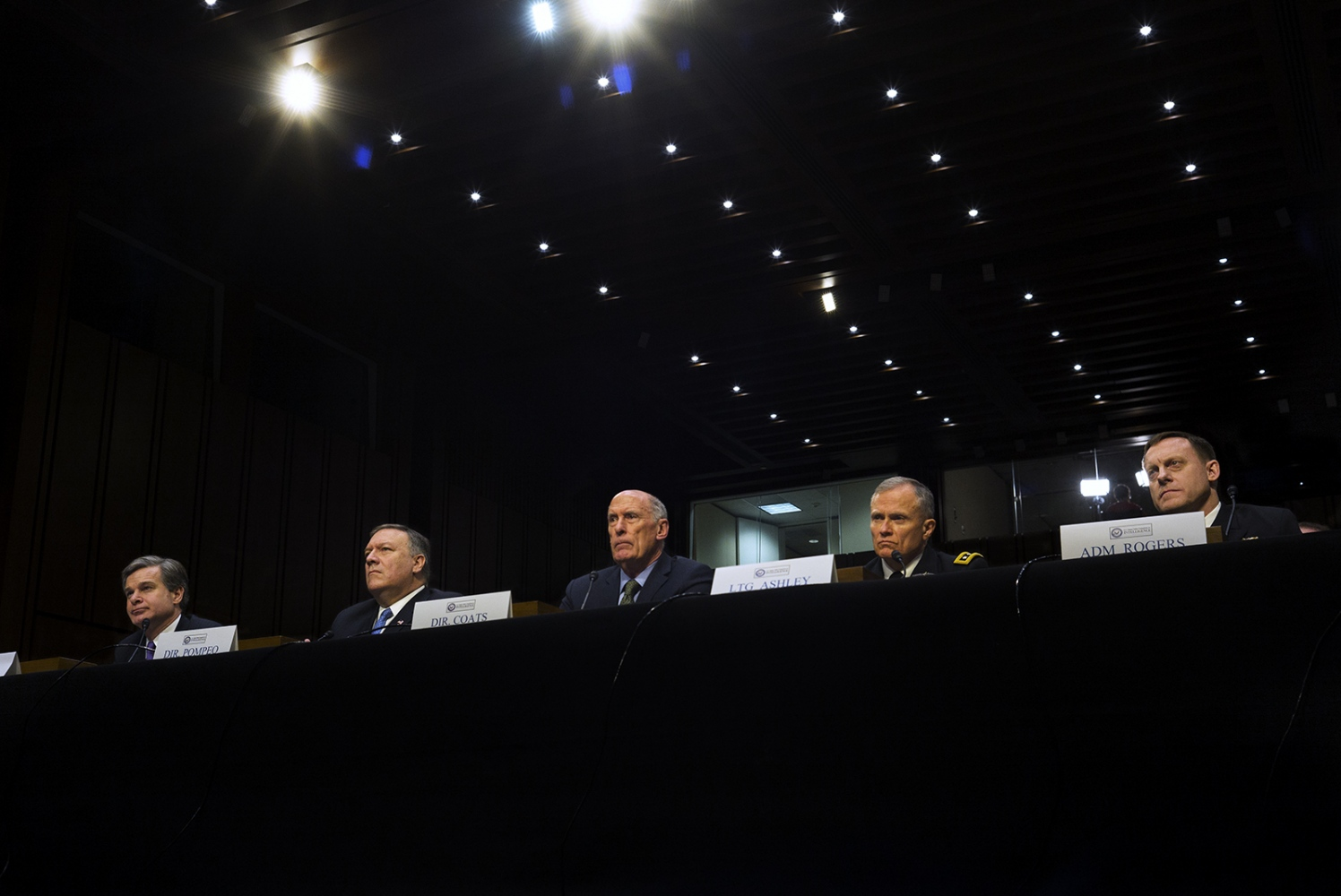 (From left) FBI Director Christopher Wray, CIA Director Mike Pompeo, Director of National Intelligence Dan Coats, Defense Intelligence Agency Director Lt. Gen. Robert Ashley, and NSA Director Adm. Michael Rogers testify before the Senate intelligence committee.