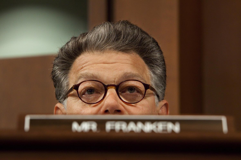 Senator Al Franken during a Senate Intelligence meeting.