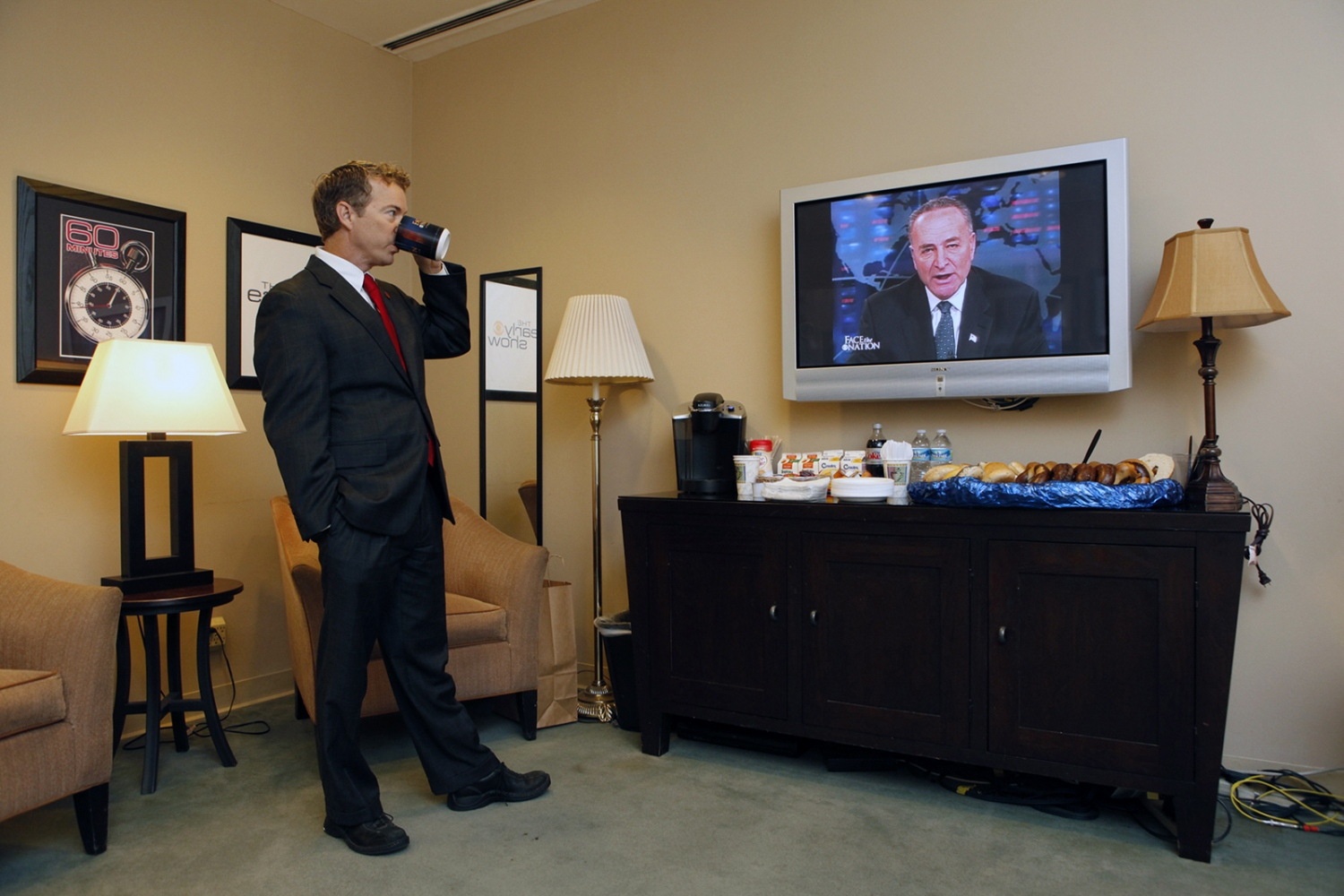 Sen. Rand Paul waits in the Face the Nation greenroom.
