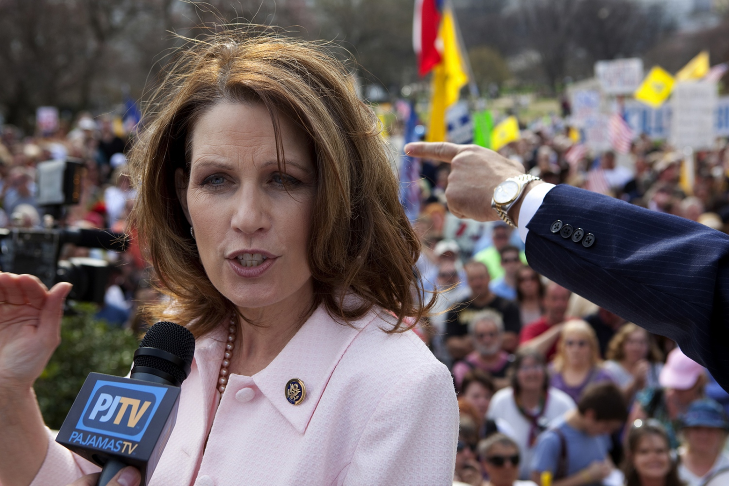 Rep. Michele Bachmann speaks to the press during a health care demonstration outside the U.S. Capitol Building.