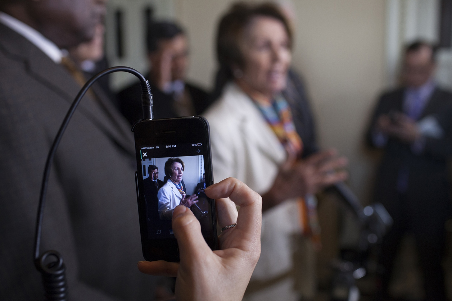 House Minority Leader Nancy Pelosi talks with the press about the government shutdown.