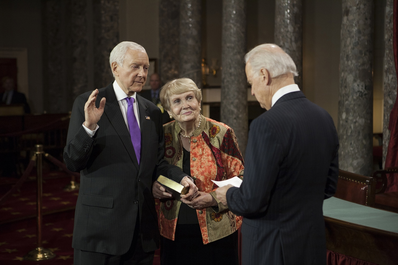 Sen. Orin Hatch stands with his wife,Elaine, as he is sworn by Vice-President Joe Biden.