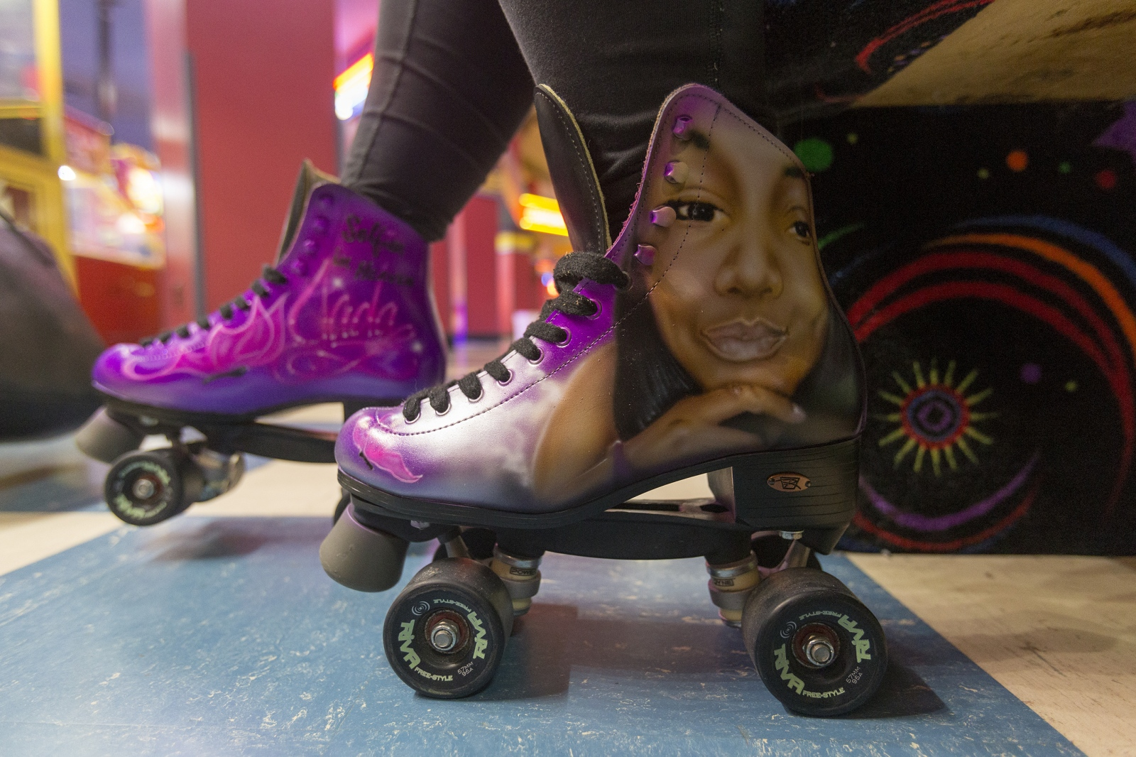 "Skates decorated with Jada Rankin's face and ""Selfies in Heaven,"" are worn by a friend of Jada Rankin at the Crime Stopper's award fundraiser and the 16th birthday party Jada will never have."