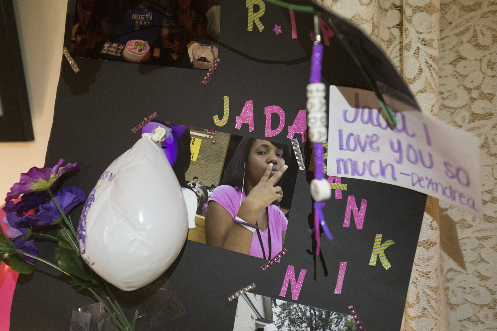 "A poster decorated by a friend of Jada Rankin now hangs in Tawanna Rankin's home. ""But the fact that she wanted to go to college. In her own little mind, she was going to change the world and I was going to help her. I was going to do whatever it was that she wanted to do."""