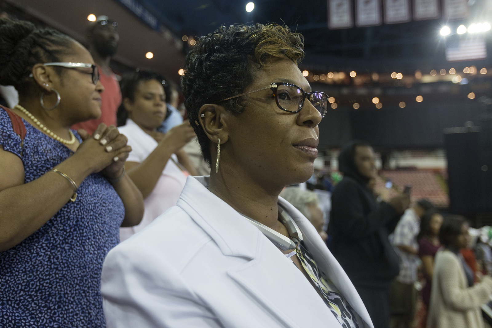 "LaShaunda Forrest watches with great pride as her only son, Michael Green, during his high school graduation ceremony at Joe Louis Arena on June 6, 2017 in Detroit. ""My mind was like: 'No that's not his blood … that can't be his blood,' "" his mother, LaShaunda Green, recalled after her son was shot 5 years ago down the street from their house."