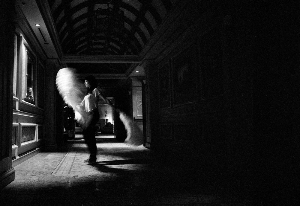 """Ashton"" spreads her angel wings in a showgirl's backstage chapel, Las Vegas."