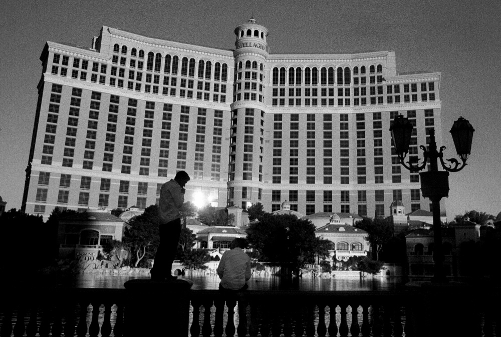 The Bellagio Hotel, a 30 story luxury hotel with a surrounding 8.5 acre lake sits in the middle of the desert in Las Vegas Nevada. The fountains of the Bellagio cost an estimated $75 million to create, and spray the waters of the Colorado to entertain tourists.