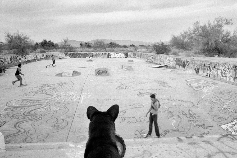 The old US Navy pool is used for skateboarding by local youngsters in Slab City, CA. Once a thriving tourist destination, as the Salton Sea dried up and became polluted, residents fled, and tourists didn't return, leaving the area inhabited by many living on the fringe of society.