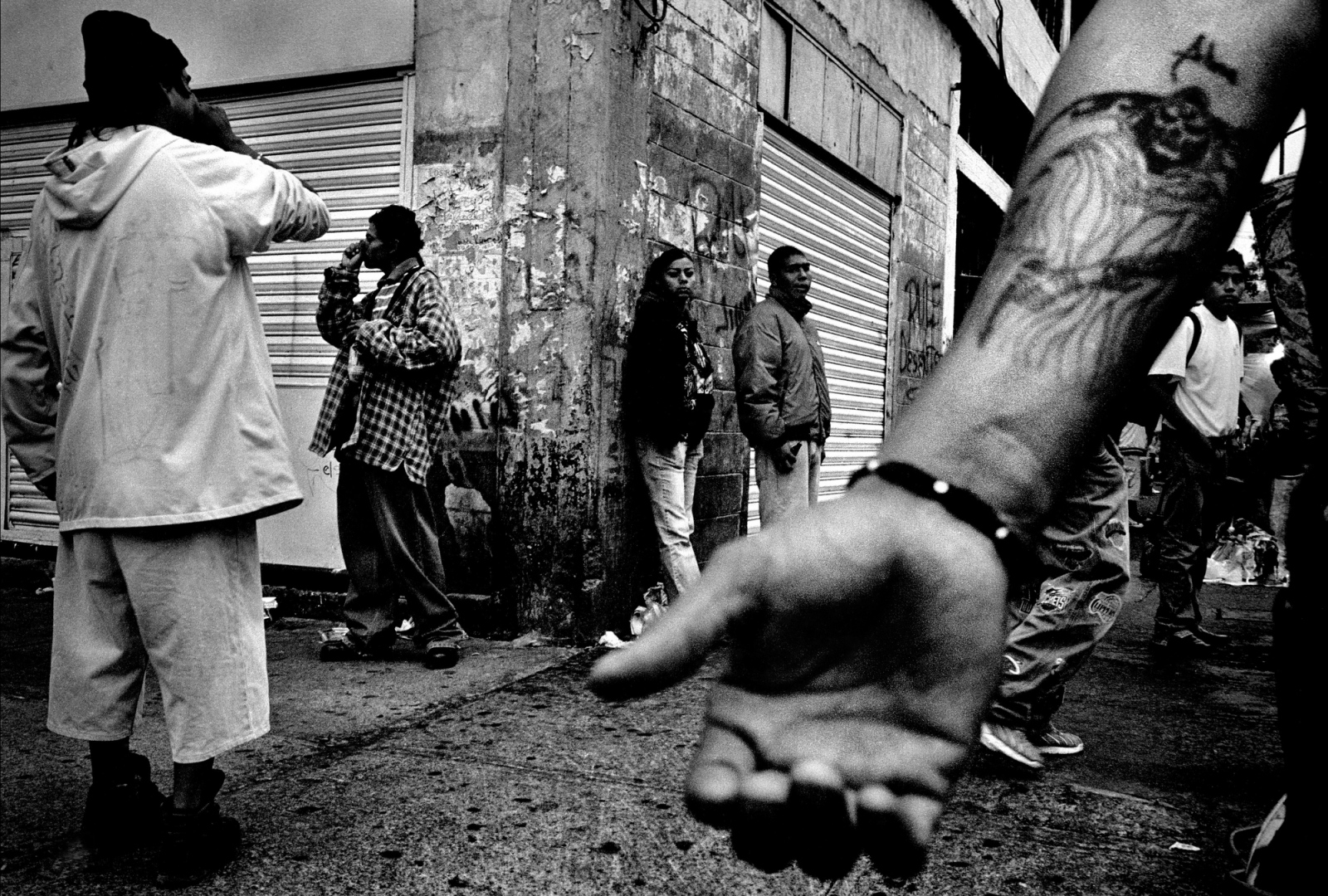 Drug abusers huff glue and inhalants while dealers ply their trade on the streets of Tepito, Mexico City's toughest neighborhood. Tepito is controlled by drug cartels, and access to the neighborhood is strictly guarded. Police are only allowed to patrol its streets 2 days a week.