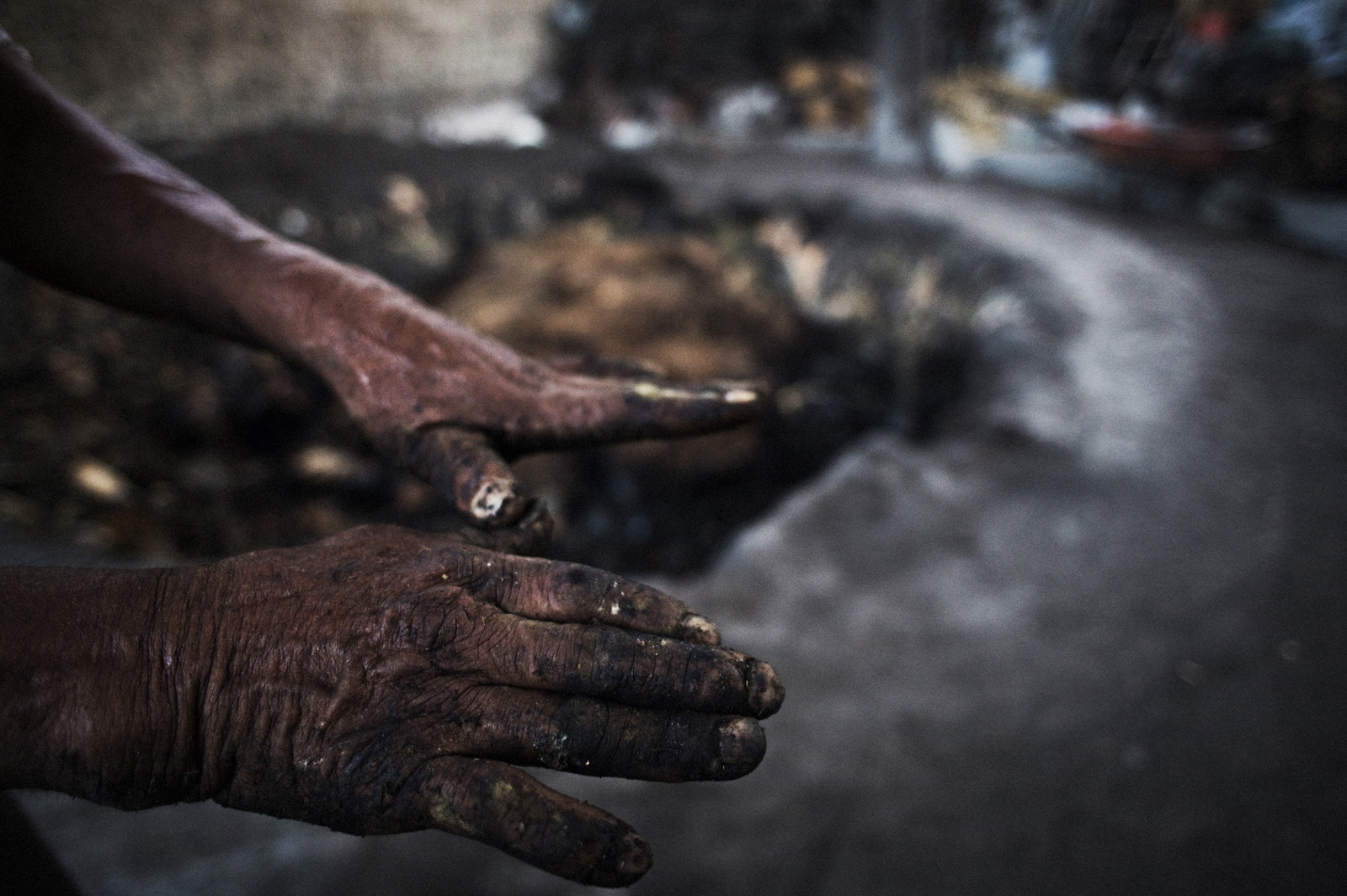 A mezcalero's hands after clearing the earth oven of cooked agave.