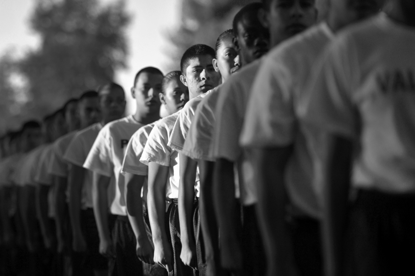 Explorer recruits in Class 93 at the North Academy line up in formation for PT on Sept. 27, 2014.