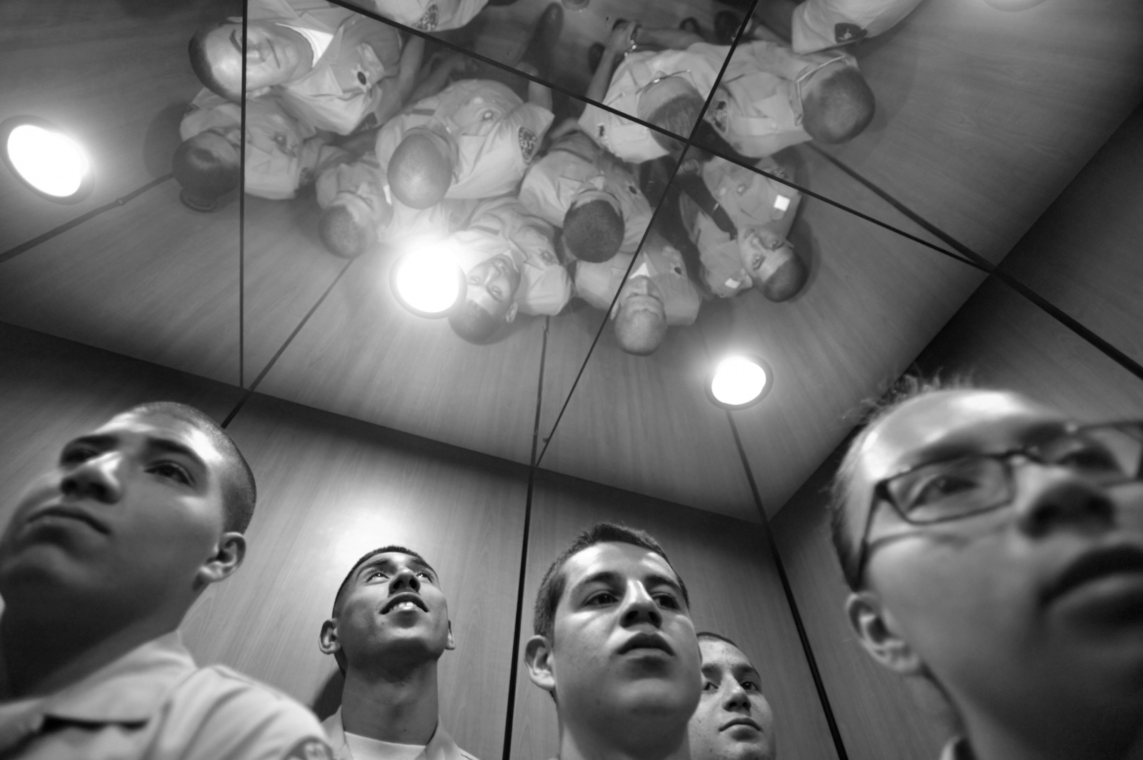 A group of Explorers recruits gather in an elevator at the Reagan Library in Simi Valley during a tour and history lesson on Nov. 22, 2014.