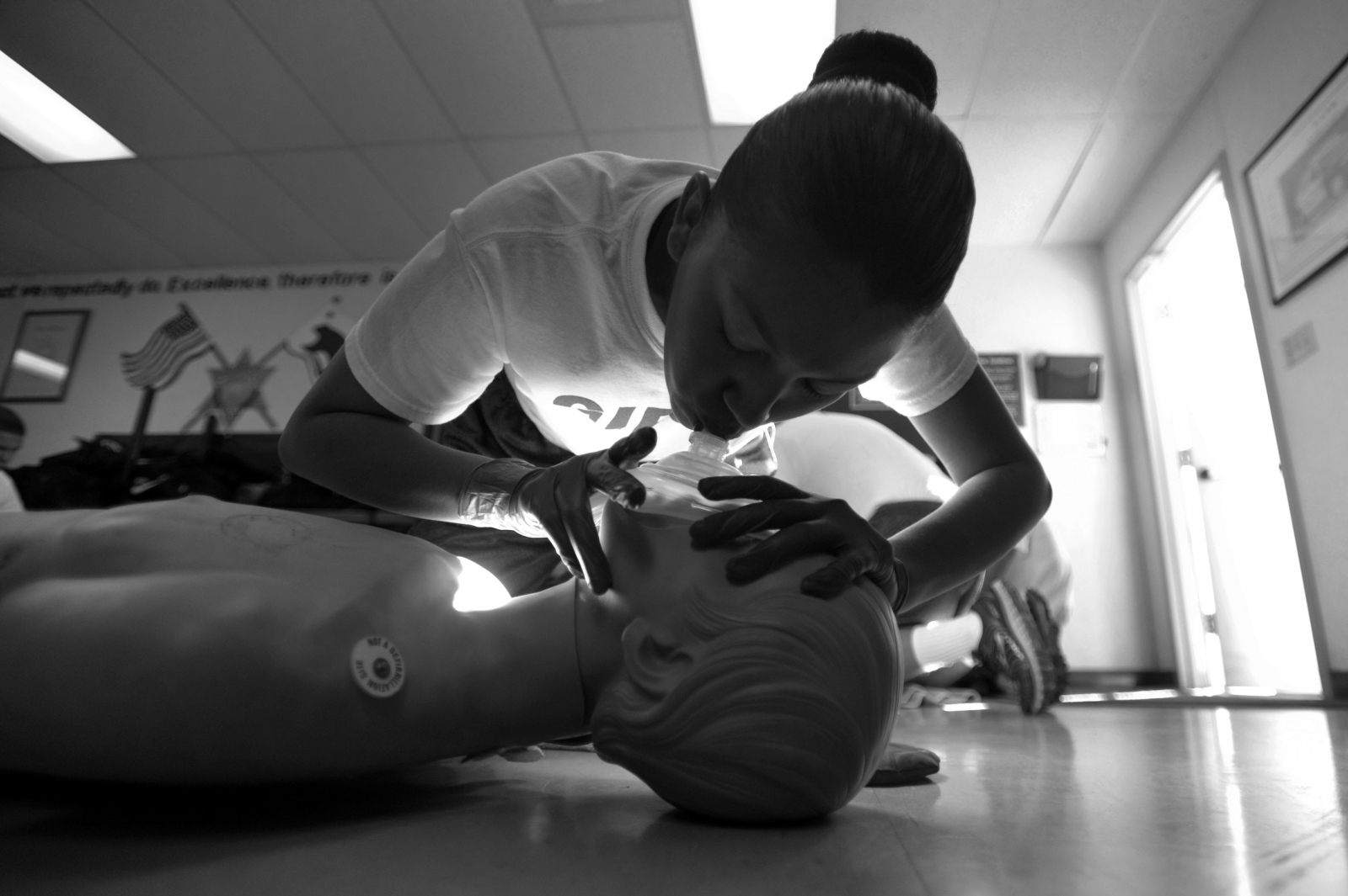 An Explorer recruit in Class 93 practices CPR on a dummy at the North Academy Explorers class at College of the Canyons on Oct. 25, 2014. All Explorers earn their CPR certification as part of their training.