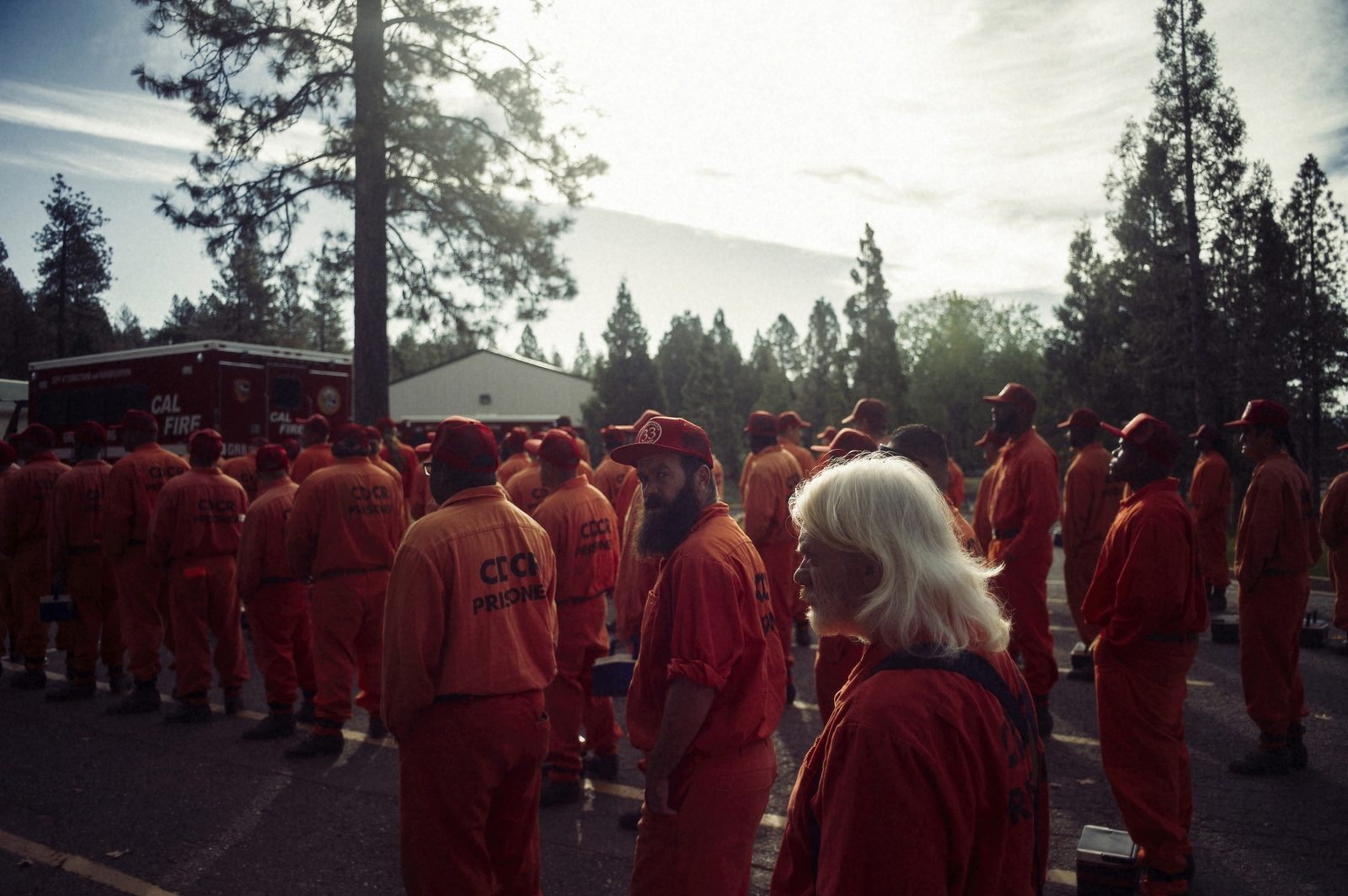 Inmate firefighters line up to deploy for a day's work at Growlersburg Conservation Camp.