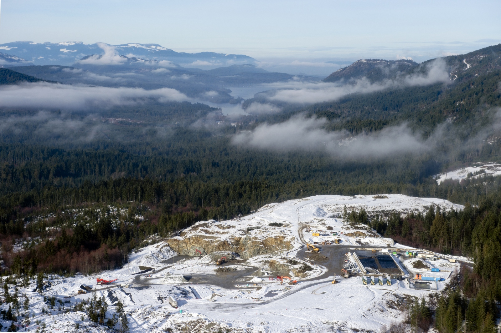 Snow covers the South Island Resource Management site on Jan. 6, 2016. Residents question the wisdom of putting a contaminated soil dump site only five kilometres south of, and uphill from, Shawnigan Lake (pictured above).