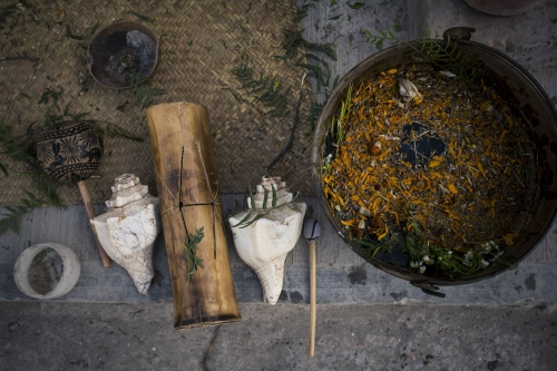 Instrument, herbs and tools used in the Temazcal ritual. Tehuacan.