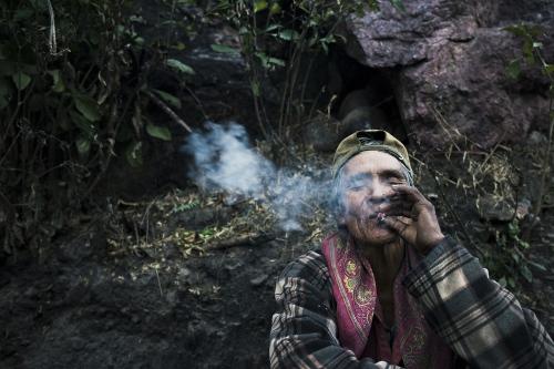 A farmer smoking marjuana. Munerachi village, baja Tarahumara, Chihuahua.