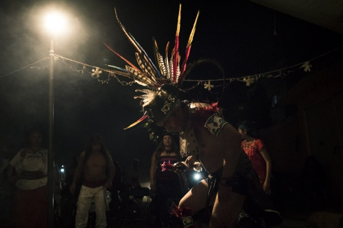 Nahualt indigenous ritual of the Siembra de Nombre, based on a dance of several hours. The dance in the indigenous culture is a way to connect with nature and universe and in this way to heal.