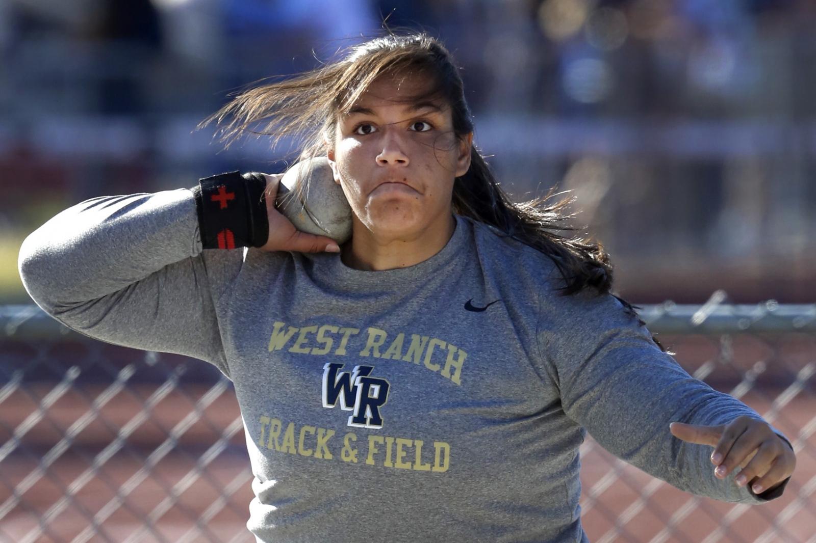 West Ranch's Natalie Ramirez throws the shot put during a dual meet at Saugus on Thursday, April 20, 2017.