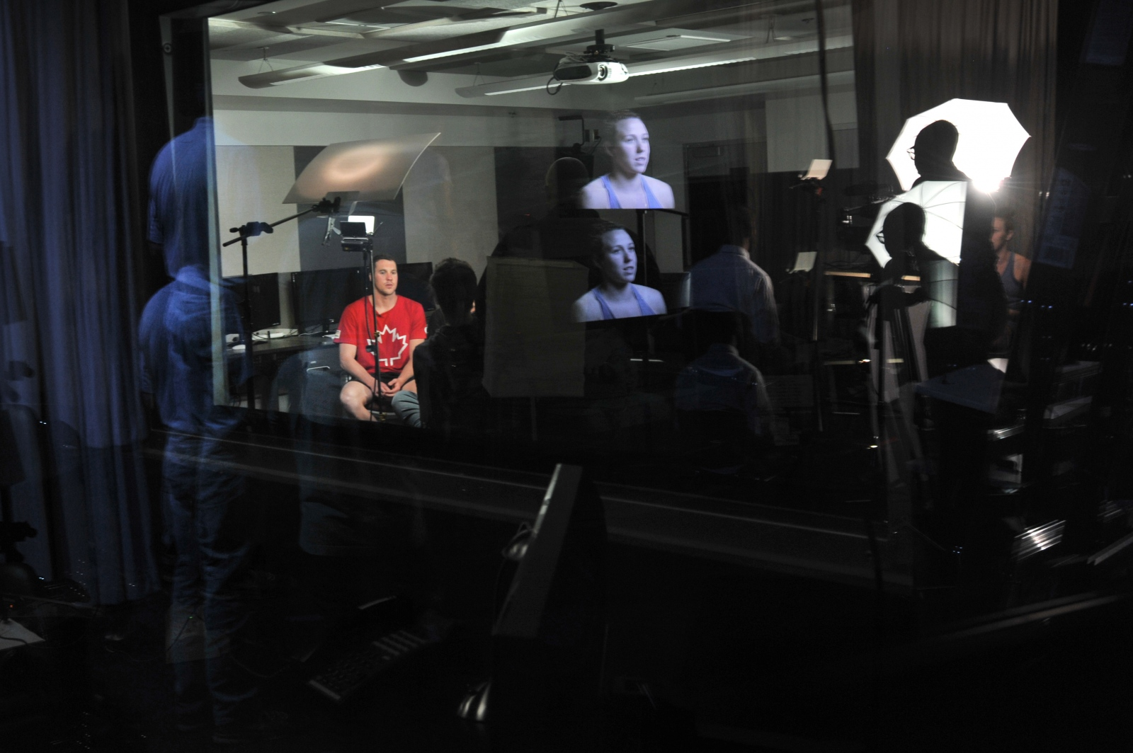 College of the Canyons journalism students interview athletes vying for a spot at the 2016 Summer Olympics to practice interviewing skills on Feb. 24, 2016. Katharine Lotze/The Signal.