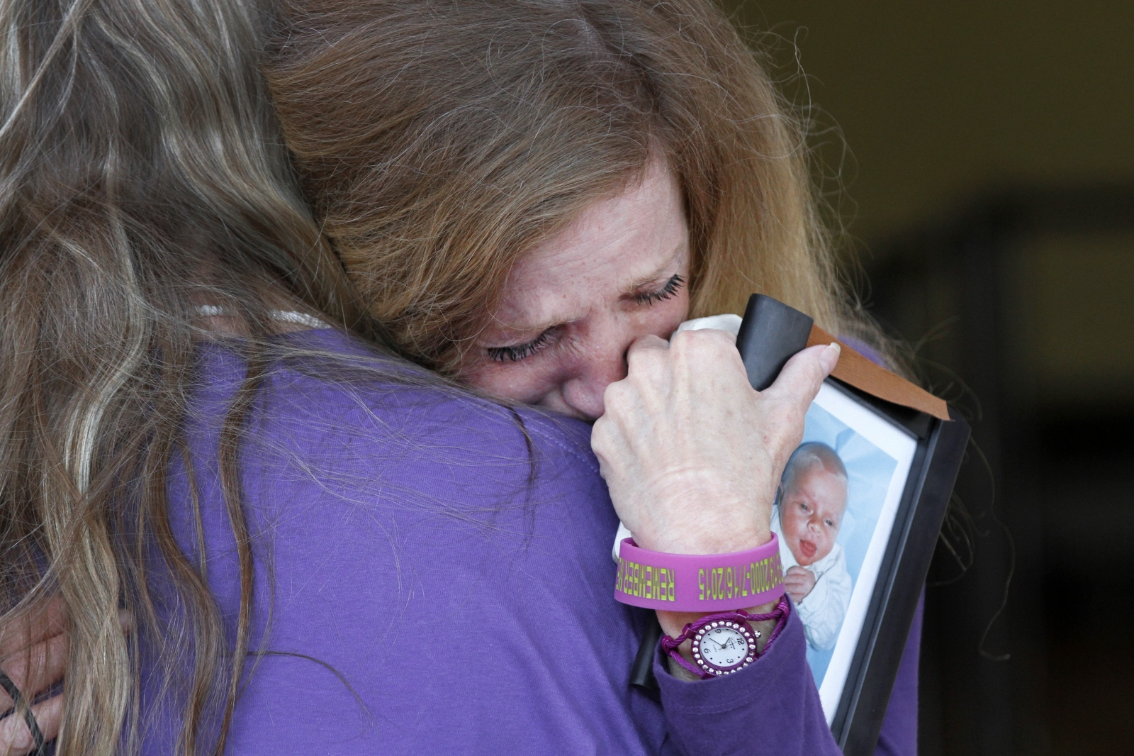 Teresa Savaikie hugs her daughter outside the Santa Clarita Courthouse on June 21, 2016 ahead of a hearing for the man accused of fatally striking Savaikie's son, Wyatt, in a crosswalk in July 2015. Katharine Lotze/The Signal