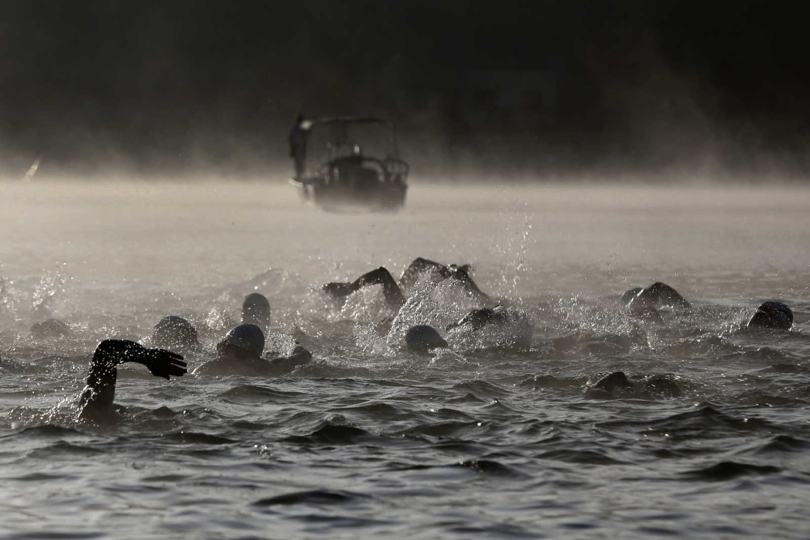 Swimmers in the first section of the World Police and Fire Games triathlon competition start out across Castaic Lake's Lower Lagoon on August 14, 2017. Katharine Lotze/The Signal
