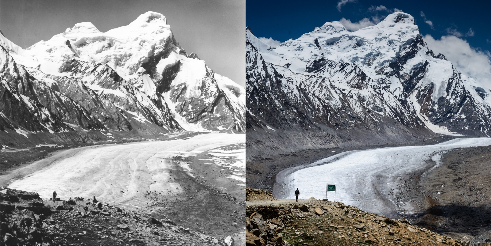 Left: Drang-Drung glacier seen from the Penzi-La Pass of the Zanskar region, during the summer of 1980. Historical photo taken by German alpinist Dieter Kirch. Right:Drang-Drung glacier seen from the Penzi-La Pass of the Zanskar region,  during the summer of 2013. Photo taken by myself, Christopher Rubey using the repeat photography method to help measure ice volume loss over time.