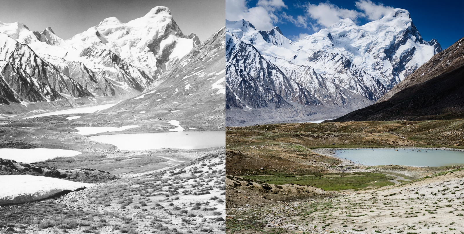 Left: Drang-Drung glacier and glacier lakes in the Penzi-La Pass of the Zanskar region, during the summer of 1980. Historical photo taken by German alpinist Dieter Kirch. Right: Drang-Drung glacier and glacier lakes in the Penzi-La Pass of the Zanskar region, during the summer of 2013. Photo taken by myself, Christopher Rubey using the repeat photography method to help measure ice volume loss over time.