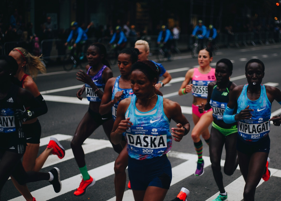 The lead group of women pass through the Upper East Side during the 2017 New York City marathon. Running through all five boroughs, the New York City Marathon is the largest in the world with 50,766 finishers and nearly 100,000 applicants this year. November 5, 2017.