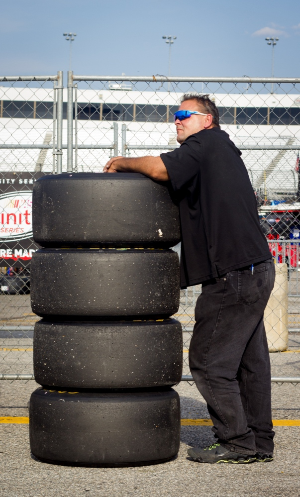 Garage crewman watches qualifying during the NASCAR Xfinity Virginia529 250 at Richmond International Raceway on September 9, 2016.