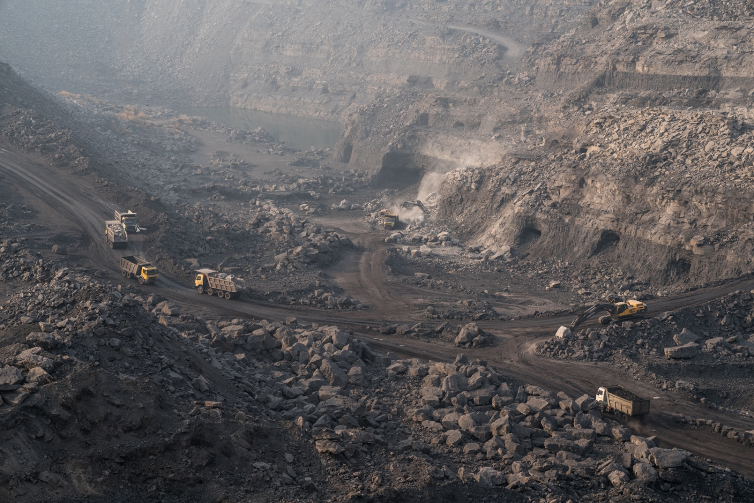 Open-pit coal mine, Jharia, India.