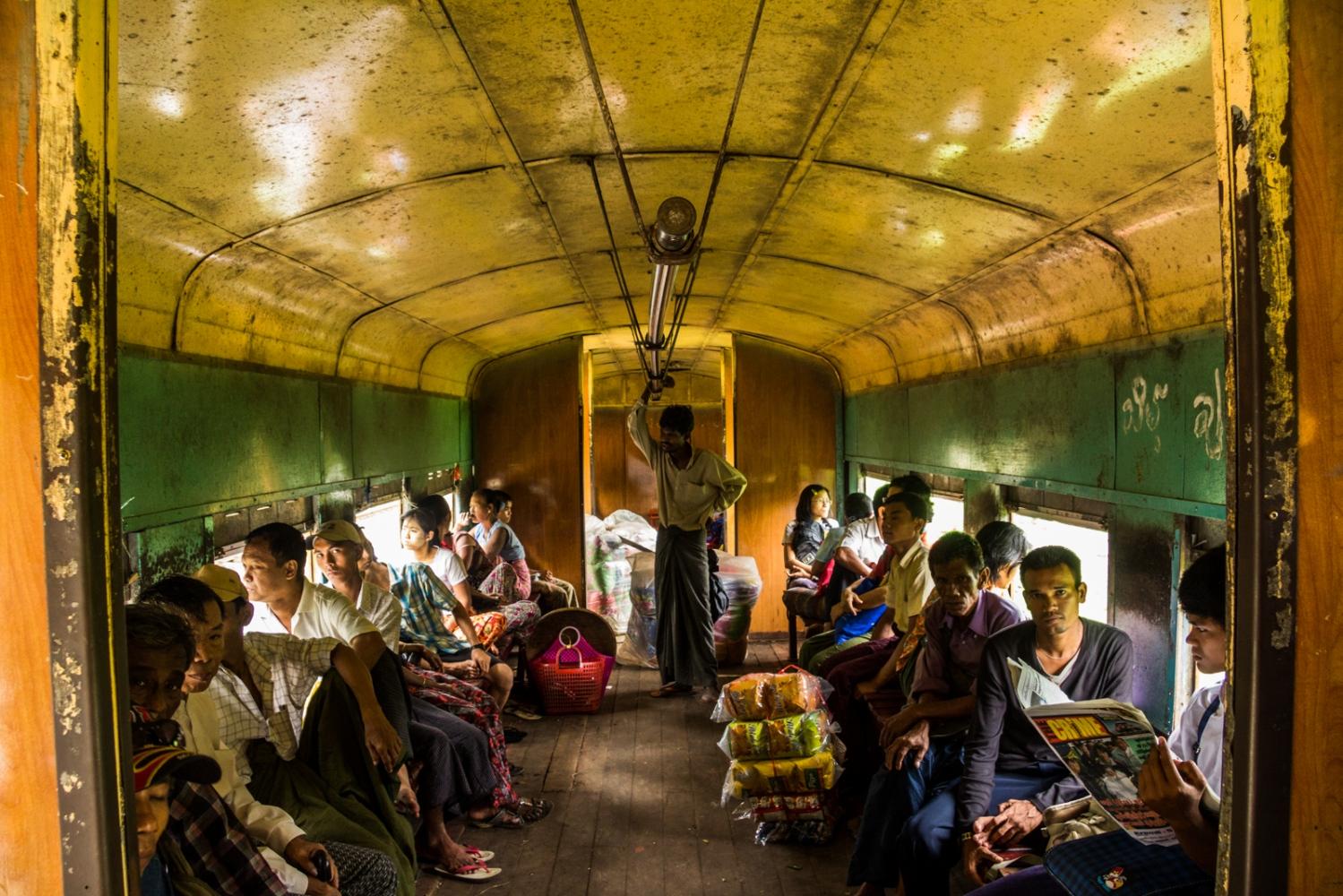 Old British colonial train. Yangon, Myanmar.