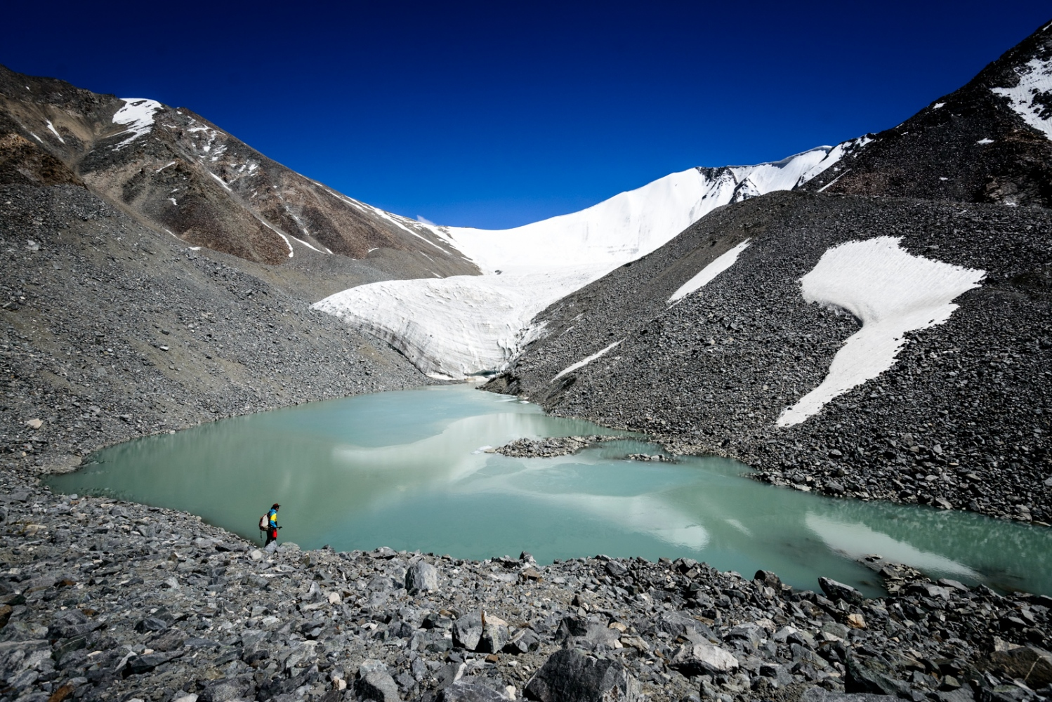 Phyang glacier 1: Prehistoric glacier and glacier lake, surrounded by debris outburst flows. Geoscientist Sergiu in the foreground uses laser emitting devices to measure changes in ice volume.