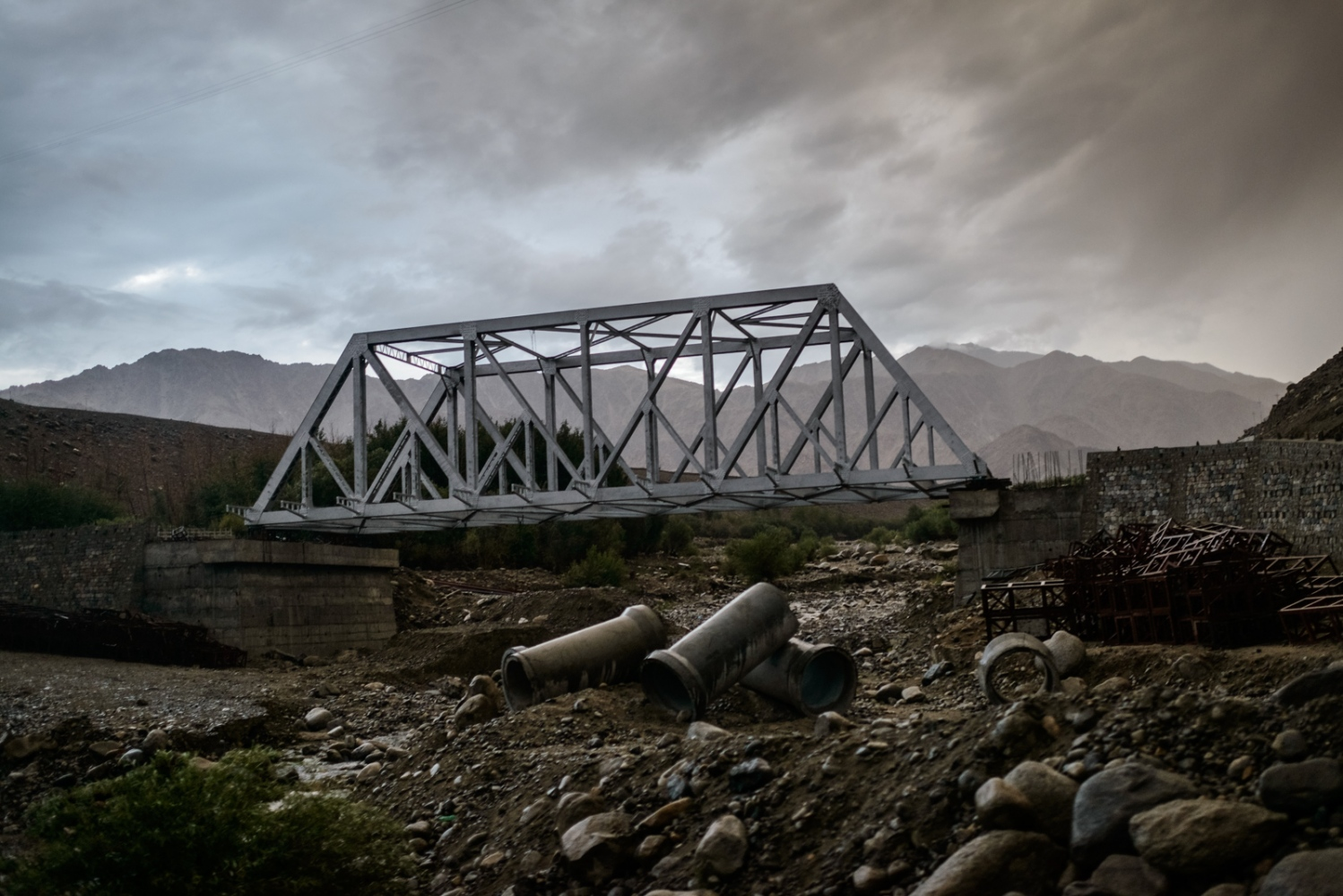 A new bridge being constructed on an frequently transited road near Leh, Ladakh, after the 2010 cloudburst event had destroyed the previous bridge and the adjacent roads.