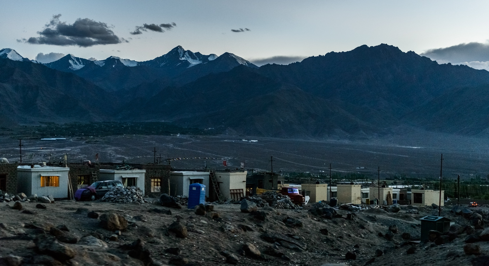 Provisional housing units provided by the local government in Choglomsar, Ladakh, to the families who had lost their homes and their loved ones during the catastrophic 2010 'cloudburst' event.