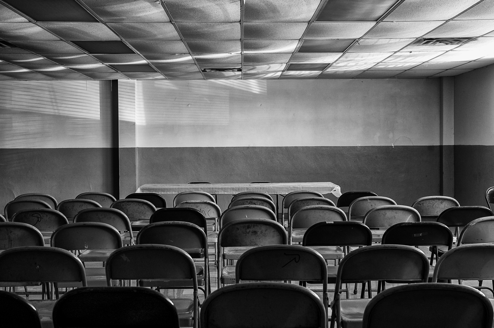 Chairs in the old union hall.