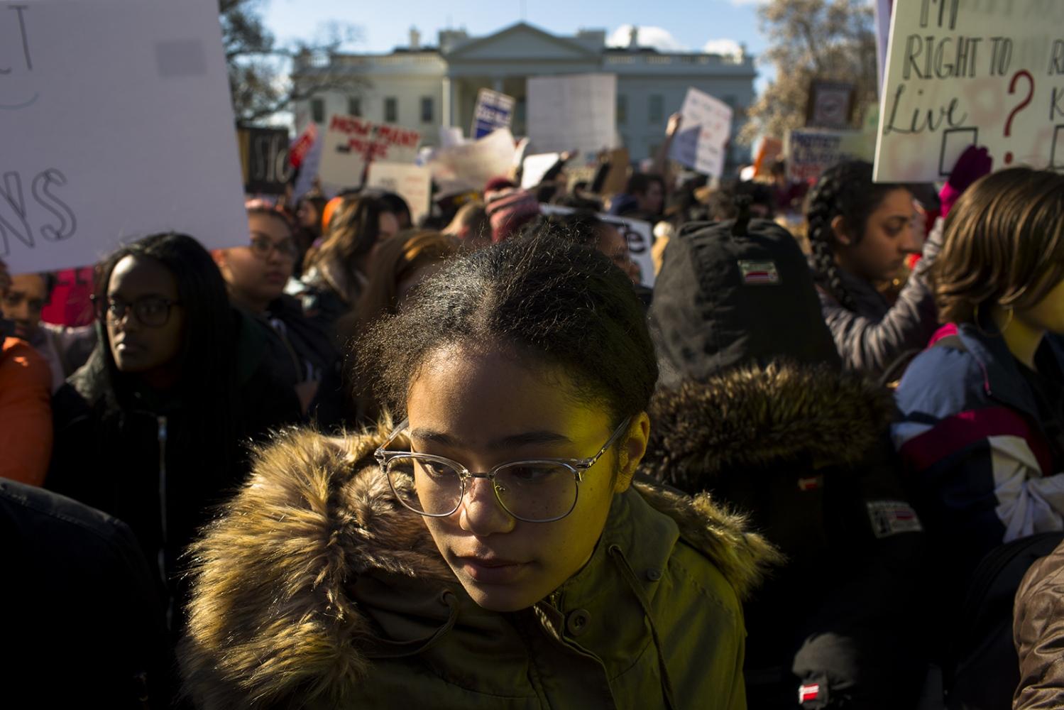 Sofia Nuri observes the 17 minutes of silence for the students killed atMarjory Stoneman Douglas High School.